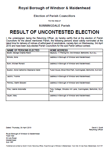 Sunningdale Uncontested Election 2019