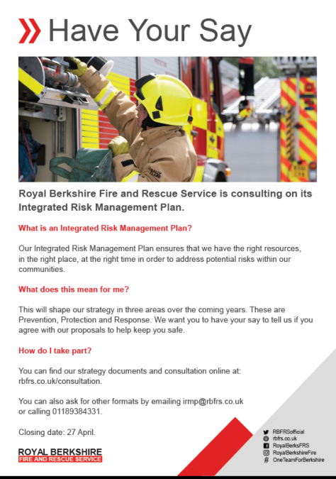 Berkshire Fire & Rescue Services Consultation Poster